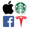 Apple, Starbucks, Facebook, Tesla