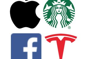 Apple, Starbucks, Facebook, Tesla